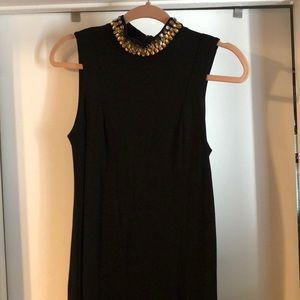 H & M Black Mini Dress with Gold Detail